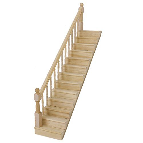 TOOGOO(R) 1:12 Dolls House Wooden Staircase with Left Handrail Pre-Assembled 45-Degree Slope