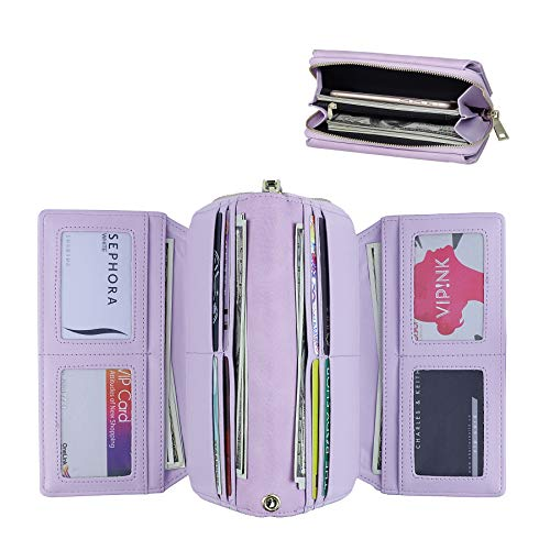 ather RFID Large Capacity Long Wallet Clutch Pures handbags Credit Card Holder Organizer Ladies Purse (purple) ()