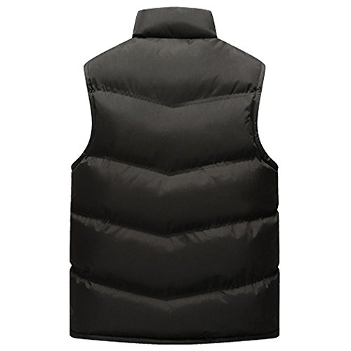 Outwear Men's Waterproof Jacket Winter Zipper KINDOYO Vest Coat Down Puffer Stand Black Sleeveless Collar Windproof Down 6wqxBdxgz