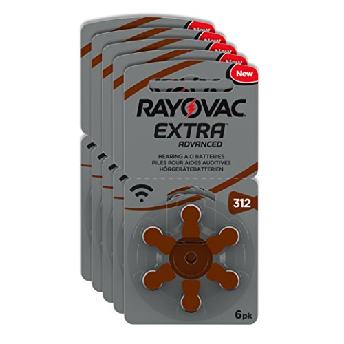Rayovac Extra Advanced Zinc Air Hearing Aid Batteries, Size 312, Brown Tab,...