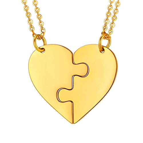 U7 BFF Necklaces for 2 18K Gold Plated Stainless Steel Heart Shape Set Best Friends Friendship/Couple/Lover/Brother/Sisters Pendants with Chain, Blank Version