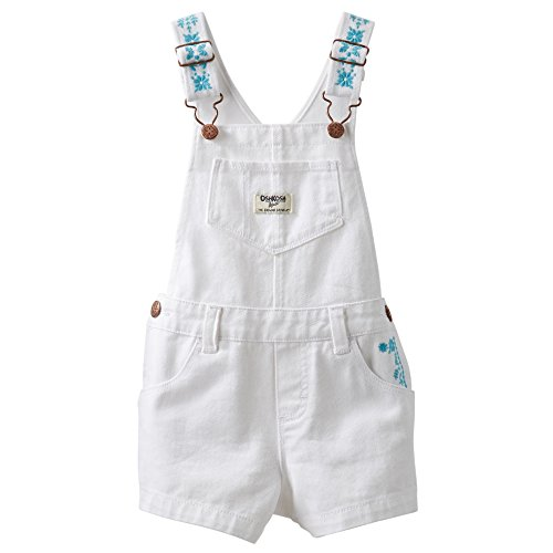 Oshkosh Baby Girls Embroidered Shortall - 24 Months, White