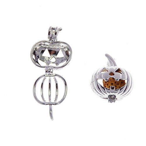 JJG 5PCS White Gold Plated Pearl Bead Cage Locket Pendants for Essential Oil Scent Diffuser Jewelry Making - Pumpkin Lantern