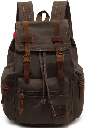 Genda 2Archer Multifunctional Canvas Backpack for Men and Women Army Green