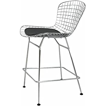 Amazon Com Baxton Studio Taddeo Mesh Bar Stool With