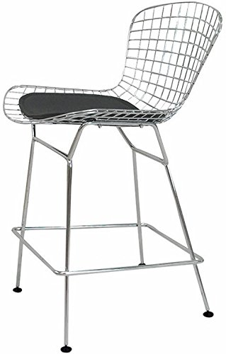 Mod Made Mid Century Modern Chrome Wire Counter Stool for Kitchen or Bar, Black