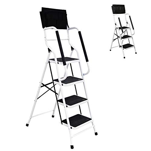 - charaHOME 4 Step Ladder Step Stool Folding Portable Ladder Steel Frame with Safety Side Handrails Non-Slip Wide Pedal Kitchen and Home Stepladder with Attachable Tool Bag 500 lb Capacity