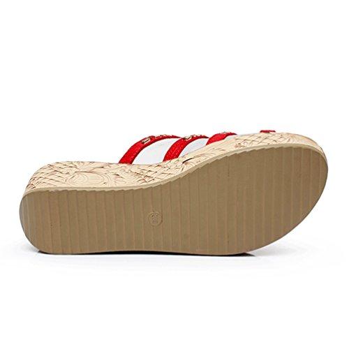 Pantoufles Plate Forme Flip Femmes Compensées Chaussons Anguang Engrener Rouge Mode Flops FxwtXw7f