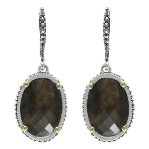 (Aura by TJM 925 SS 8.654 cttw Smoky Quartz Earrings & 0.07 cttw Marcasite with 14K Gold Flashing)
