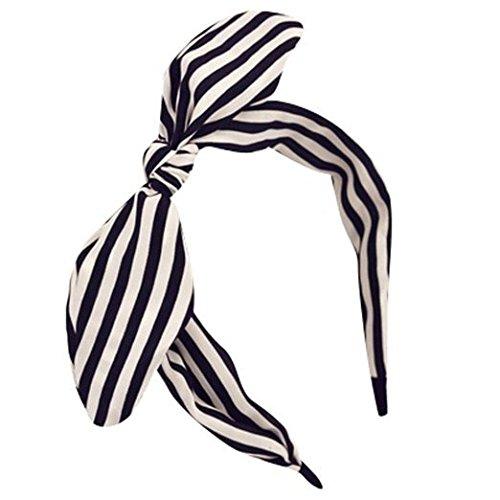 (Aimeart Girls' Women's Cute Bowtie Accent Wire Headband Striped Hair Band, Black White Stripe)