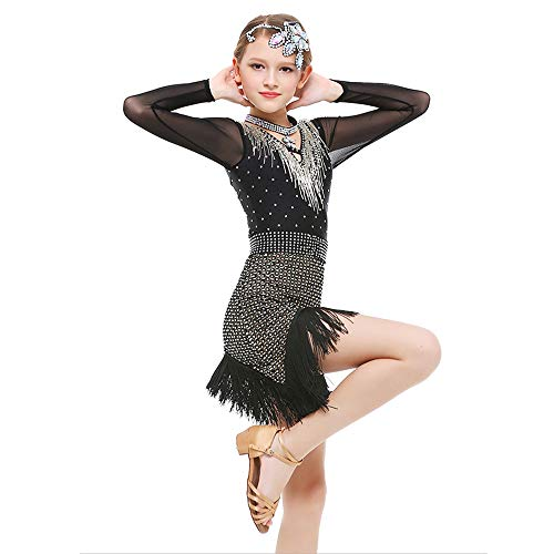 Children's Dance Costumes, Rhinestone Tassel Long Sleeve Latin Rumba Practice Dance Suit, Suitable for Stage Performance/Competition/National Standard Dance Test (120-170cm) -