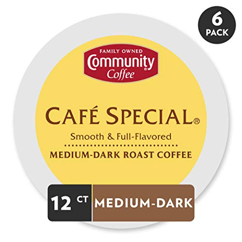 Community Coffee Café Special Medium Dark Roast Single Serve, Compatible with Keurig 2.0 K Cup Brewers, Full Body Smooth Full Flavor, 100% Arabica Coffee Beans, 12 Count, Pack of 6
