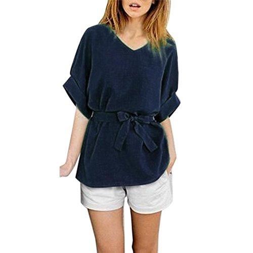 FNKDOR Verano más mujeres del tamaño baten la camisa ocasional de la vendimia de la blusa superior de las señoras Chemise Armada
