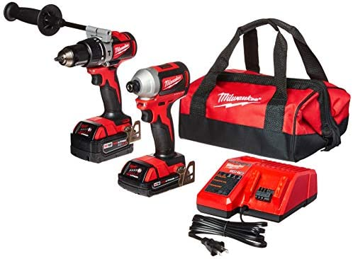 Milwaukee 2893-22CX M18 18V Lithium-Ion Brushless Cordless Hammer Drill Impact Combo Kit 2-Tool with 2 Batteries