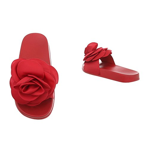 Ital-Design Pantoletten Damenschuhe Sandalen & Sandaletten Rot 830