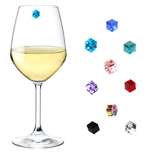 Crystal Glass Charms - Wine Glass Charms Crystal Set of 9, Magnetic Wine Glass Charms for Stemless Glasses, Glass Identifiers, Drink Markers, Wine Glass Tags, Wine Glass Markers Magnetic - Gift Box by Simply Charmed