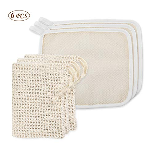 Micropromo 3 Pack Exfoliating Face and Body Wash Cloths Towel Scrub Cloth Massage Bath Cloth, and 3 Pack Soap Exfoliating Bag Natural Soap Saver (6 in ()