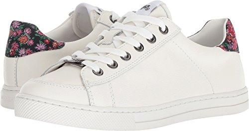 Coach Women's C126 Low Top Sneaker White/Black/Pink Floral Leather 6.5 M (Coach Sneakers)