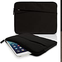 iGadgitz Black Canvas Fabric Sleeve Pouch Case Cover with Front Pocket for Asus Transformer Pad T90 T100T, Book T101HA T100Chi TF103C TF303CL, MeMoPad 10, ZenPad Z8 (Fit Tablet WITHOUT Keyboard Only)