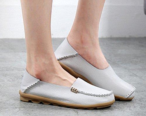 Loafer Sko, Kvinner Flate Loafers Skinn Slip På Tøfler Tilfeldige Walking Kjører Sko Hvit