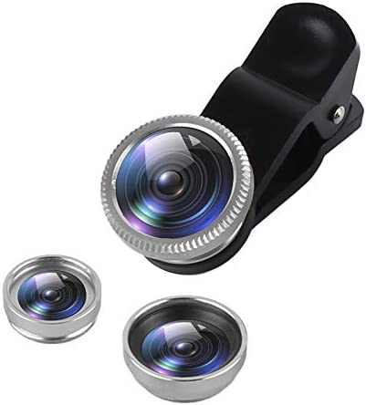 0.67XWide Angle Lens Clips-On Cell Phone Lens for Samsung//iPhone//Most Smartphones twbbt 3 in 1 Cell Phone Lens,180/° Fisheye Lens 10X Macro Lens