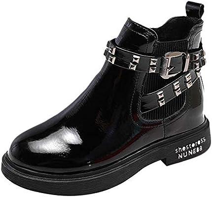 6a2626b6a37f4b Damen Schnalle Schuhe Nieten Lederschuhe Runde Kappe Warm Heel Stiefel  halten ❤LANSKIRT