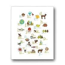 Nature Themed English Alphabet Wall Art Print 08x10 Inch Print Nursery Decor Kid's Wall Art Print Kid's Room Decor Gender Neutral Nursery Decor Animal ABC Poster Baby Room Decor Playroom Decor