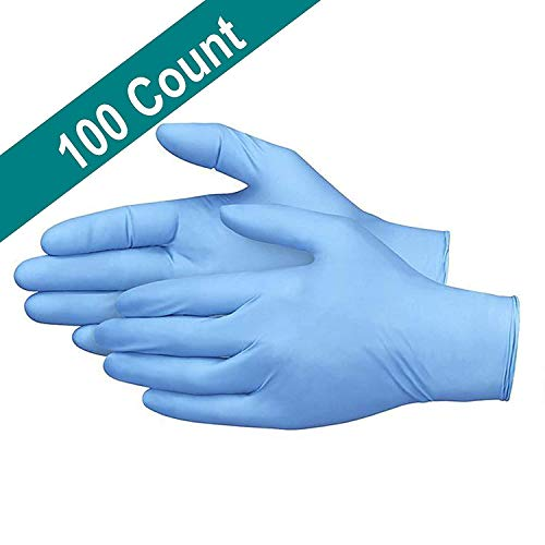 RUNYA Disposable Gloves Powder Free Blue Nitrile Gloves Pack of 100 Medium