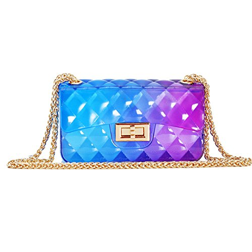 Lingge Color Summer Fragrance Women Shoulder Small Mini Bag Gradient Locking Chain Jelly D nXwSUUZqC