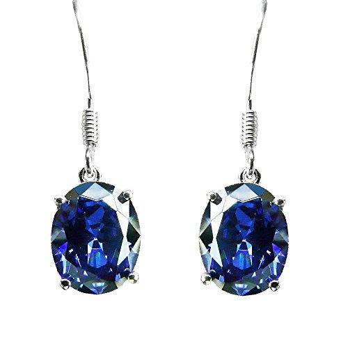 Austral Jewellery Ltd - Argent 925 Sibérien Tanzanite Ovale Coffret Pendentif, Boucles D'Oreilles, Chaîne Hameçon - Gemme De Naissance Décembre
