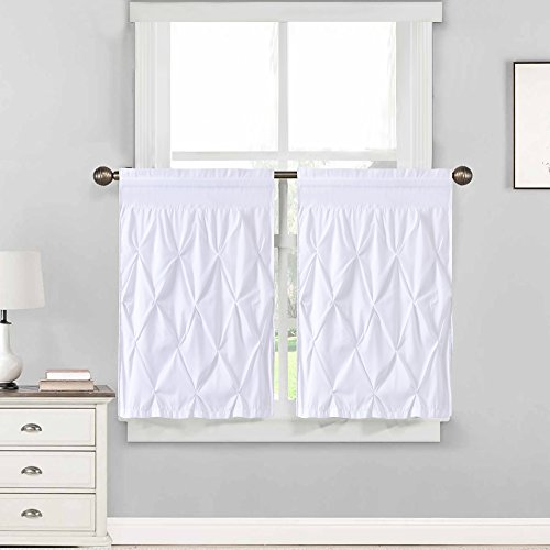 Classic Pleat Collection - Sweet Home Collection Pinch Pleat Kitchen Curtain Window Treatment Choice of Valance, 24