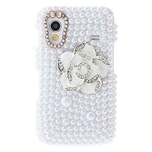 MOFY-Camelias blancas Pintura Patr—n Rhinestone bolsas protectoras para Samsung Galaxy S5830