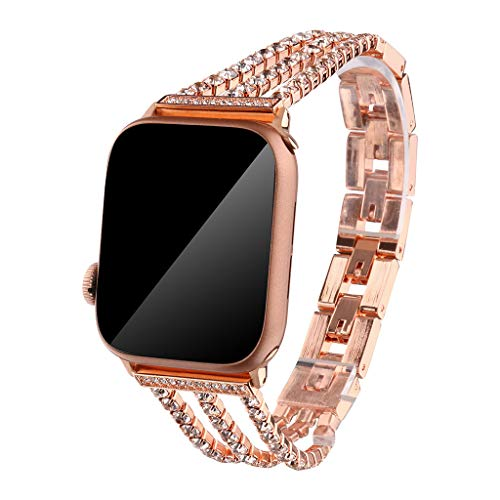 Cywulin Compatible for Apple Watch Band Bracelet Bangle 38mm 42mm 40mm 44mm, Stainless Steel Wristband Strap Luxury Jewelry Diamond Replacement for iWatch Series 4 3 2 1 Girl Women (38mm/40mm, Gold)