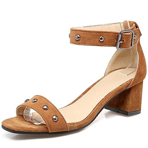 Sandals Femmes Chaussures à Strap Avec Jaune bout Zpfme ouvert Dance Ankle Talon Carré Party RXFzBdq8
