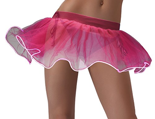Cece LED Tutu Light Up Tulle Skirt Rave Costume For Halloween Party Show Nightclub Pink