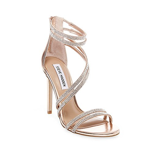 Steve Madden Women's Sweetest Heeled Sandal, Rose Gold, 6 M US (Upper High Heel Sandals)