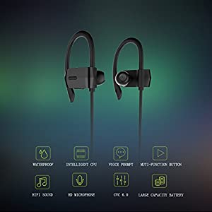 OldShark Bluetooth Earbuds V4.1 Sweatproof Wireless Sport Stereo Headphones with Microphone 7 Hours Play Time Noise Cancelling for Running Workout Black