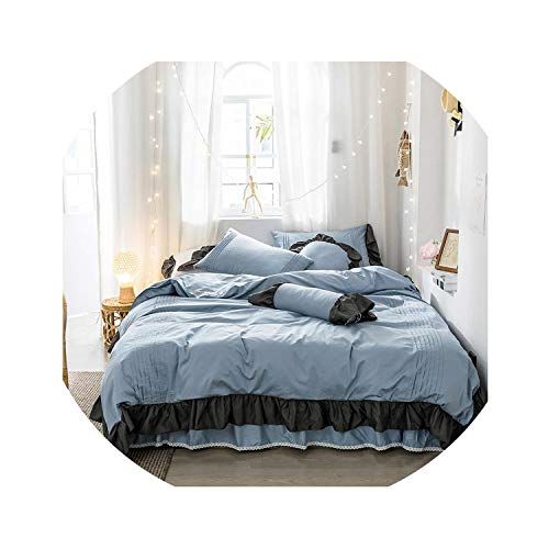 HANBINGPO 3/5 Pieces Vintage Ruffle Duvet Cover Pillow Shams Set 100% Cotton King Full Queen Size Solid Color Bedding Set for Girls Bed Set,Color 7,220X240cm 3pcs