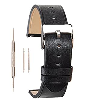 ZLYC 20mm 22mm Leather Replacement Watch Band Wrist Strap for Men with Stainless Steel Buckle, Minimal Stitching, Black, 20mm
