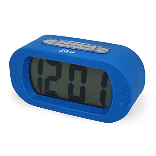 Slash Easy Setting Easy Read Silicone Protective Cover Digital Silent LCD Large Screen Bold Numbers Bedside Desk Alarm Clock with Snooze, Night Light Function, Battery Powered (Blue) S10107