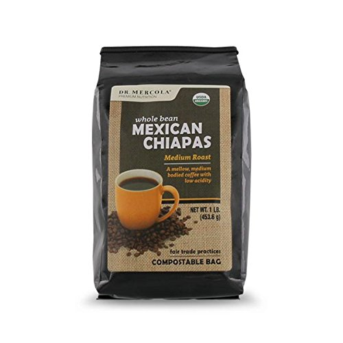 Dr. Mercola Organic Whole Bean Coffee - Mexican Chiapas (1lb): 1 Bag