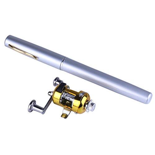 hengjia tragbar Aluminium Angel Reel Combo Teleskop Pen Eisfischen silber