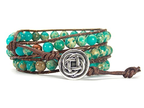 Celtic Knot Bracelet Leather Wrap with Mixed Beads Synthetic-Turquoise and Synthetic-Jasper (Silver-Tone Button)