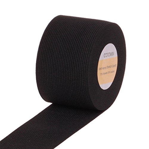 For Sale! COTOWIN 2-Inch Wide Black Knit Heavy Stretch High Elasticity Elastic Band 5 Yards