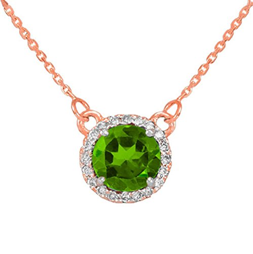14 ct 585/1000 Or Rose Diamant Peridot Collier