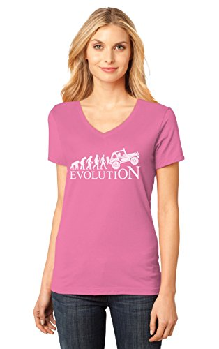Tstars TeeStars - Evolution 4x4 - Gift For Off Road Lovers - Cool V-Neck Women T-Shirt Medium (Evolution Womens Pink T-shirt)