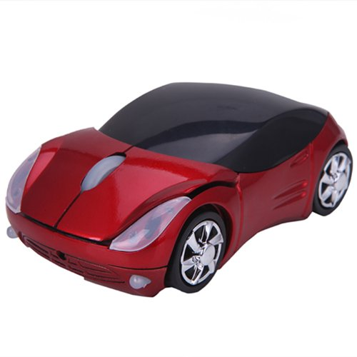 Wireless Mouse Sports Car Shaped Optical Ergonomic Computer Mouse with Adjustable DPI Scroll Wheel and USB Receiver (California Red)