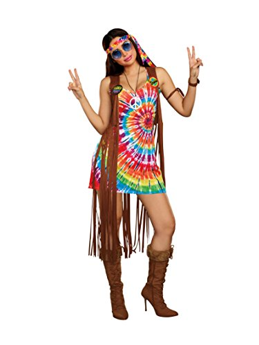 Dreamgirl Women's 1960's Tie-Dyed Hippie Hottie Costume, multi, Large -