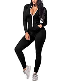 Women's Hoodie Long Sleeve Zip Up Pockets Sexy Onesies...