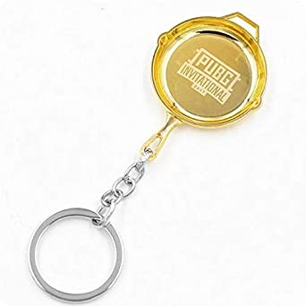 bcd6a95928 PUBG game Key chain Gold Pan keychain Playerunknown's Battlegrounds 3D Keychain  key ring men and women